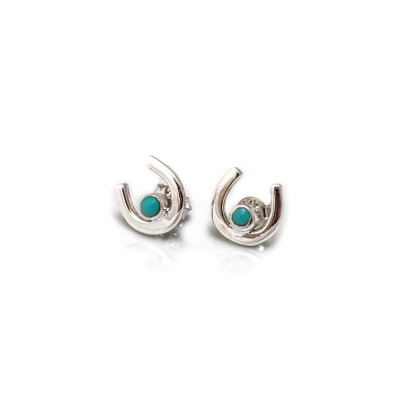 Sterling Silver & Turquoise Horseshoe Stud Earrings