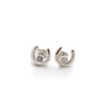 Sterling Silver & Moonstone Horseshoe Stud Earrings