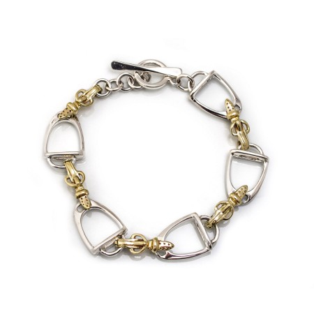 Exclusive Sterling Silver & Two Tone Stirrups Bracelet