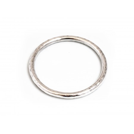Sterling Silver Rounded Hammered Bangle