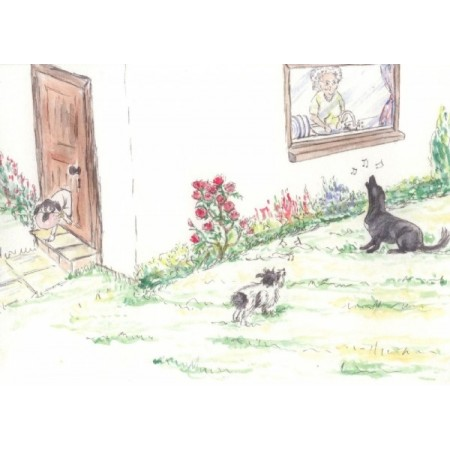 'Distraction' from 'The Naughty Dogs Collection' greetings card by Belinda Sillars