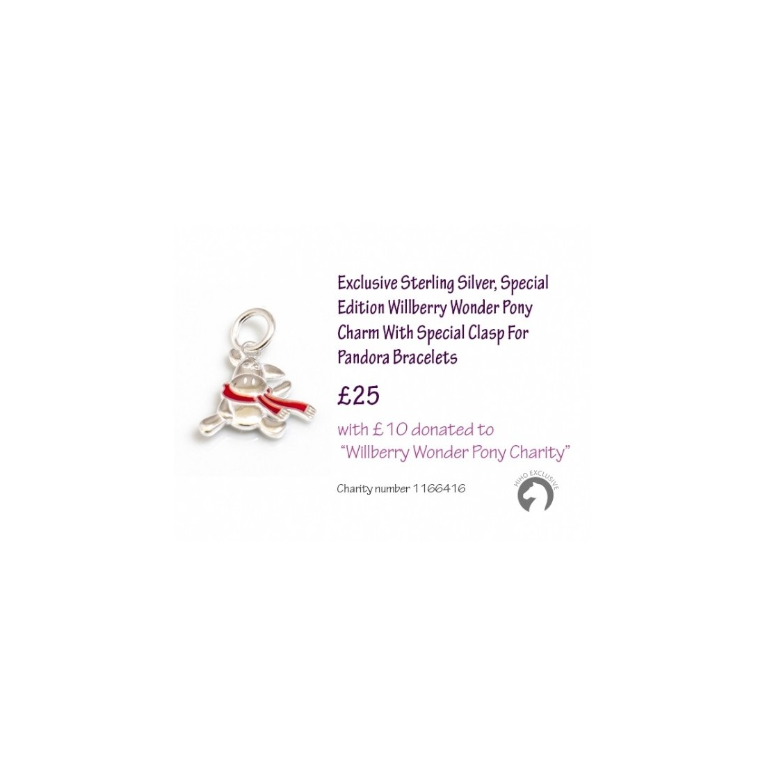 Exclusive Sterling Silver Special Edition Willberry Wonder Pony Charm With Special Clasp For Pandora Bracelets