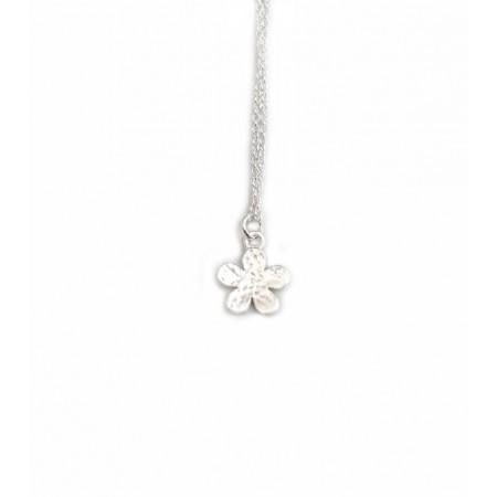 Exclusive Sterling Silver Hammered Flower Necklace