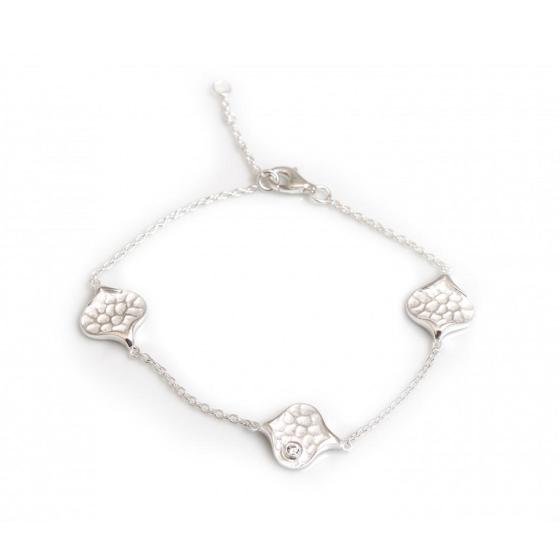 Sterling Silver Hammered Droplet Bracelet With CZ