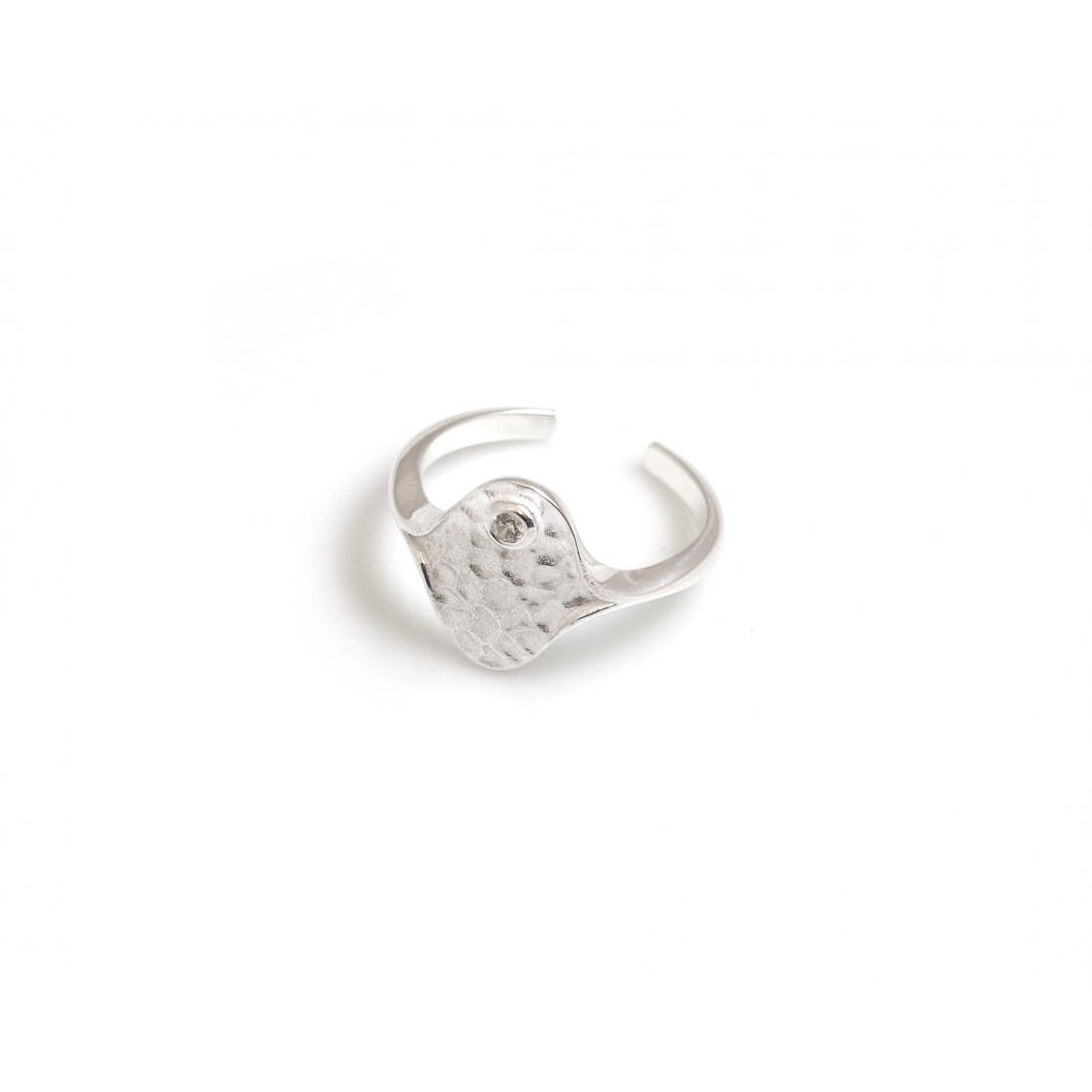 Adjustable Sterling Silver Hammered Droplets And CZ Ring