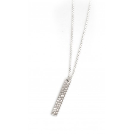 Sterling Silver Hammered Bar Necklace