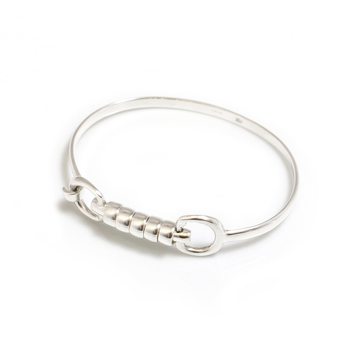 Exclusive Sterling Silver Cherry Roller Snaffle Bangle - Equestrian Jewellery