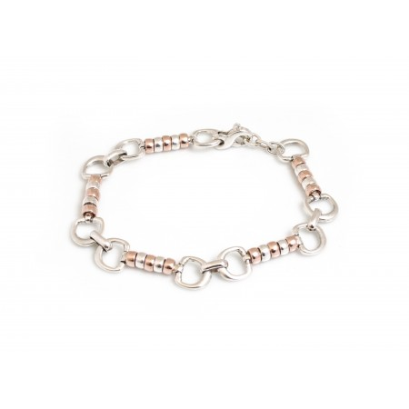 Exclusive Sterling Silver And 18ct Rose Gold Vermeil Complete Cherry Roller Bracelet - Equestrian Jewellery
