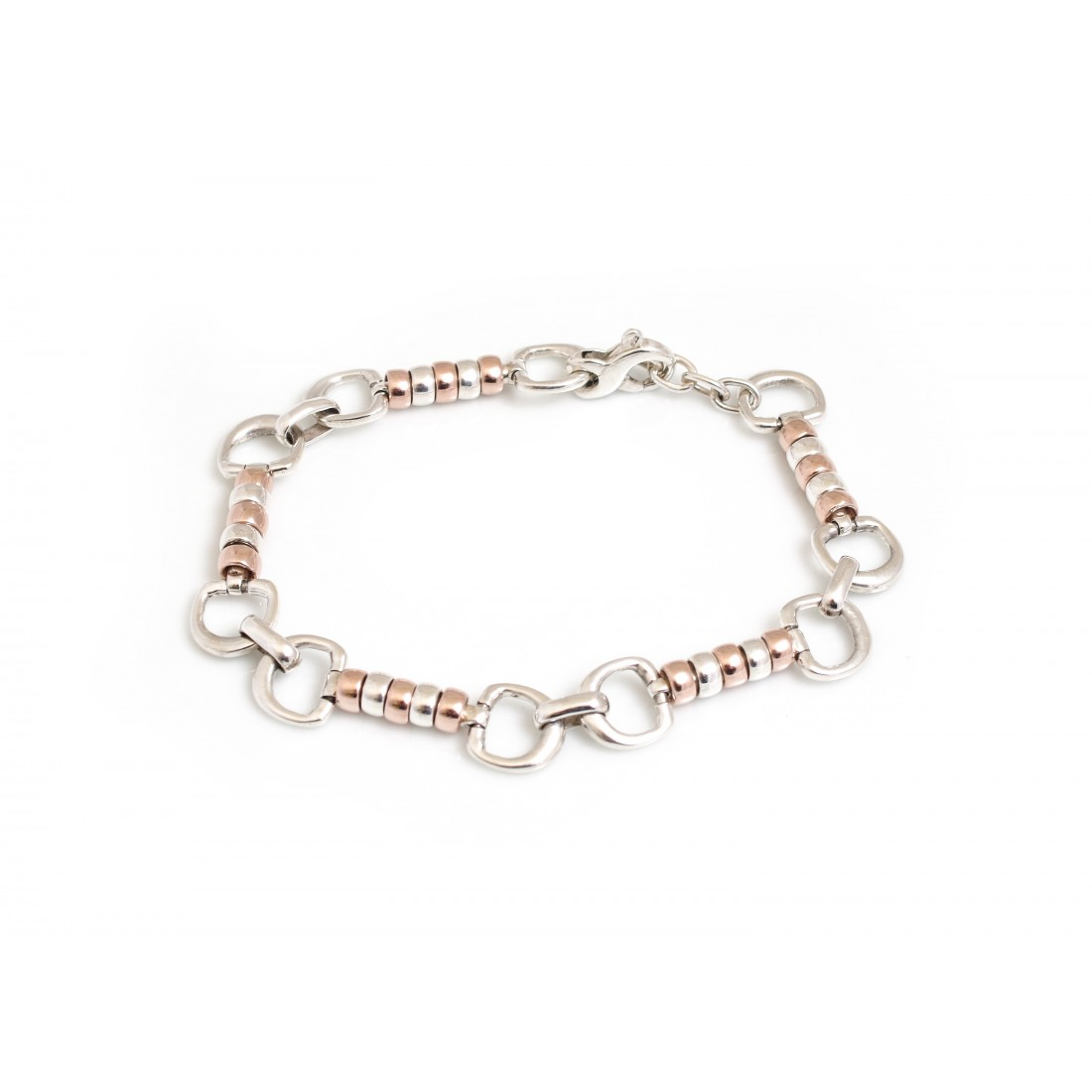 Exclusive Sterling Silver And 9ct Rose Gold Vermeil Complete Cherry Roller Bracelet