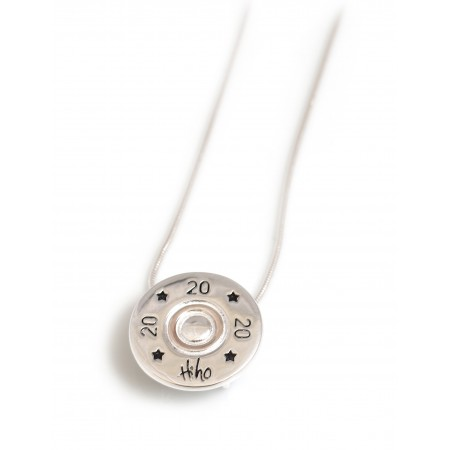 Exclusive Sterling Silver And 18ct Rose Gold Plated 20 Bore Shotgun Cartridge Pendant With Silver Snake Chain