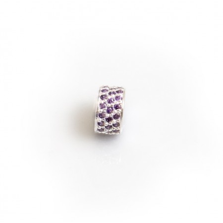 Exclusive Sterling Silver & Amethyst CZ Starlight Roller Charm Bead