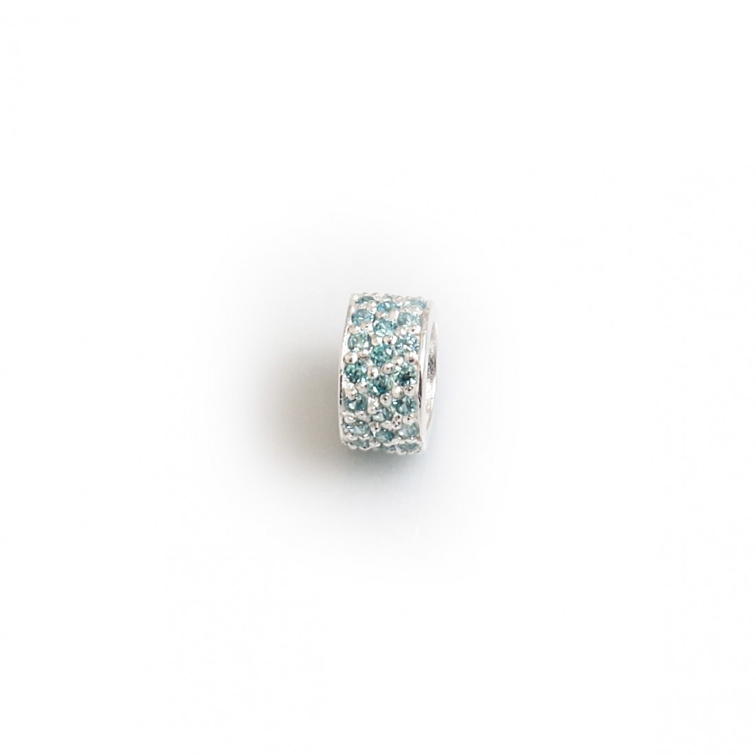 Exclusive Sterling Silver & Turquoise CZ Starlight Roller Charm Bead