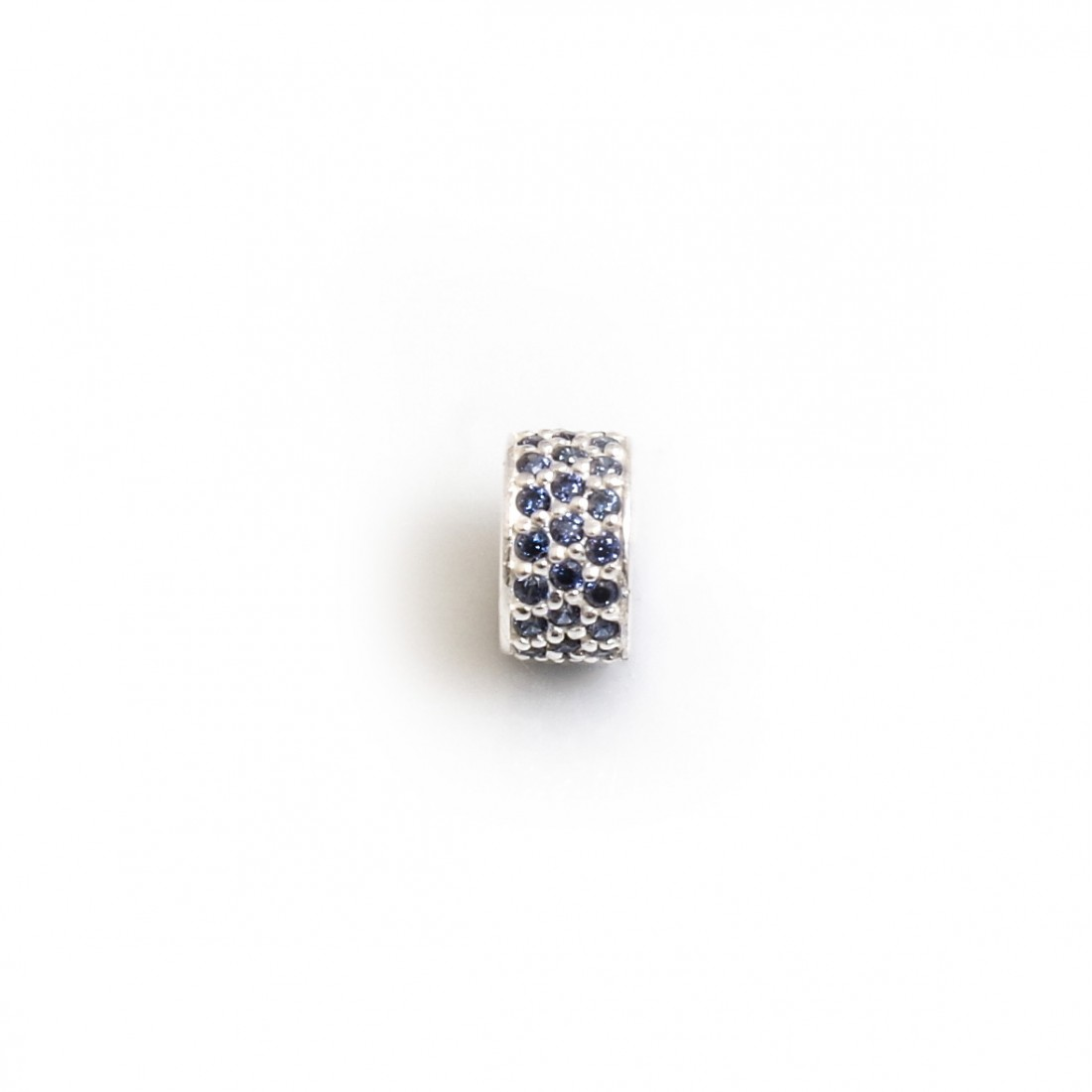 Exclusive Sterling Silver & Tanzanite CZ Starlight Roller Charm Bead