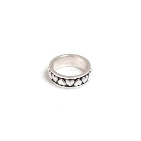 Exclusive Sterling Silver Hammered & Plain Hearts Spinner Ring