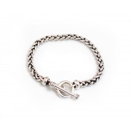 Sterling Silver Plaited Linked Bracelet