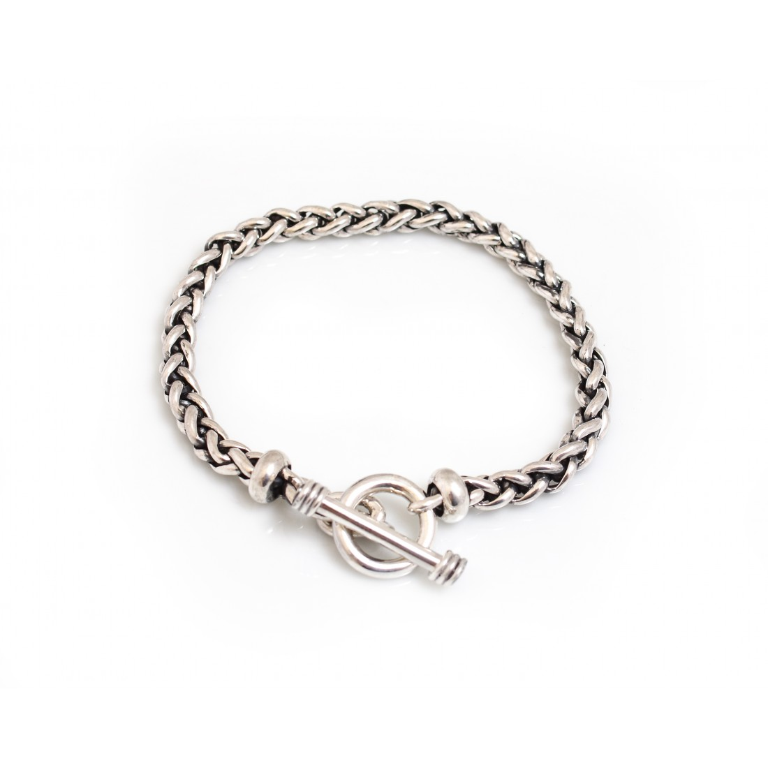 Sterling Silver Plaited Linked Bracelet
