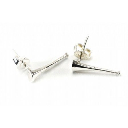 Sterling Silver Hunting Horn Earrings