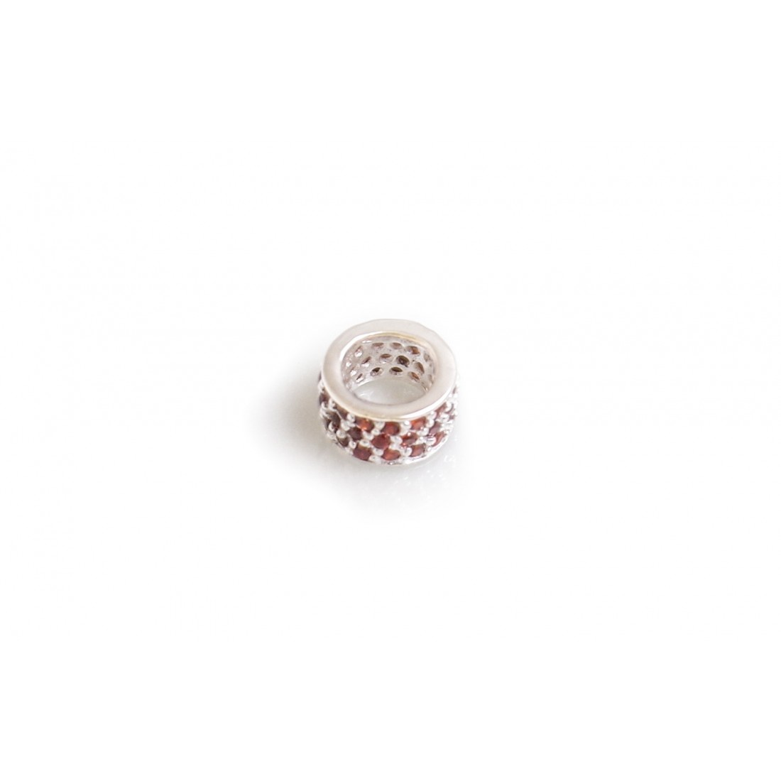 Exclusive Sterling Silver & Red CZ Starlight Roller Charm Bead