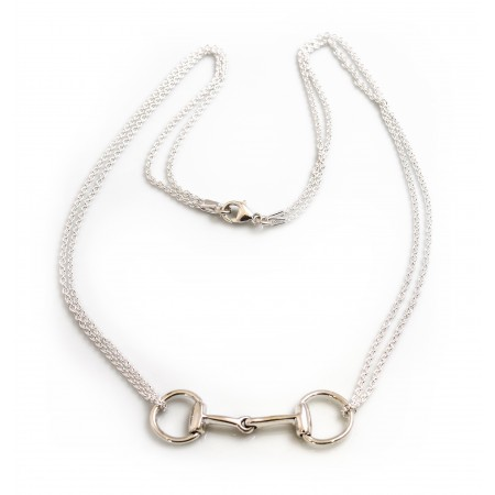 Sterling Silver Double Chained Snaffle Necklace- Equestrian Jewellery