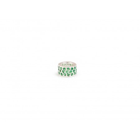Exclusive Sterling Silver & Green CZ Starlight Roller Charm Bead