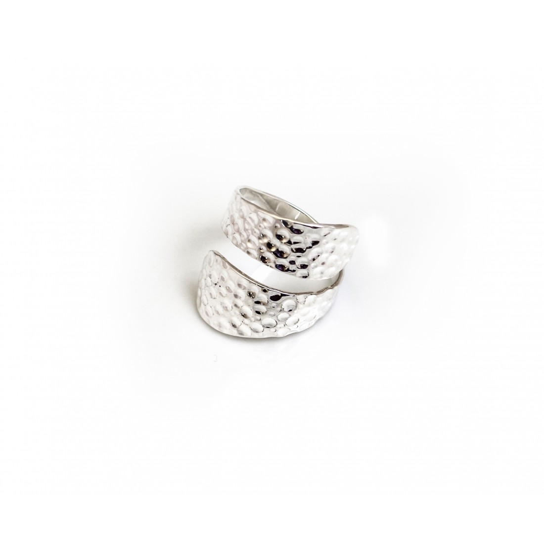 Sterling Silver Hammered Wrap Adjustable Ring