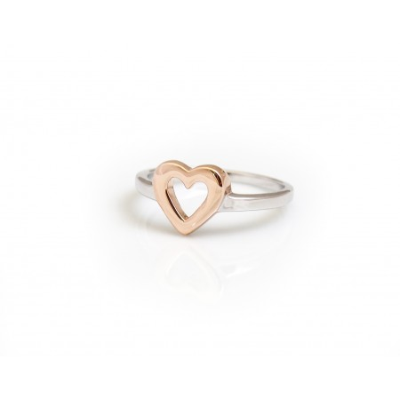 Sterling Silver & 18ct Rose Gold Vermeil Heart Ring