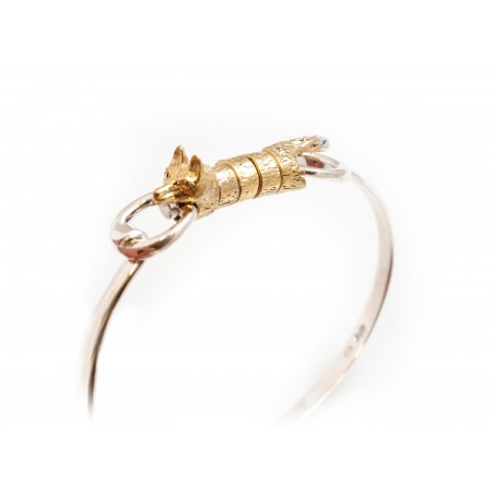 Sterling Silver And 18ct Yellow Gold Vermeil Foxy Roller Bangle