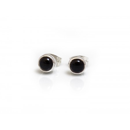 Sterling Silver And Onyx Studs