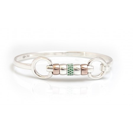 Exclusive Sterling Silver & 18ct Rose Gold Vermeil Cherry Roller Bangle With Green CZ Starlight Roller Bead