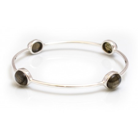 Sterling Silver & Labradorite Four Stone Bangle
