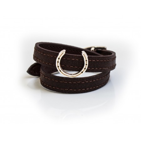 Sterling Silver Horseshoe Rider On Dark Brown Double Wrap Leather Bracelet