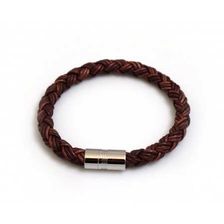 Chunky Brown Plaited Leather Bracelet With Magnetic Clasp