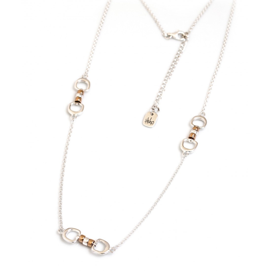 Exclusive Sterling Silver & 18ct Rose Gold Vermeil Triple Cherry Roller Snaffle Necklace - Equestrian Jewellery